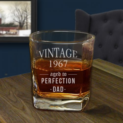'Aged to perfection' Personalized Square Whiskey Glass 10oz ( Vintage Collection)