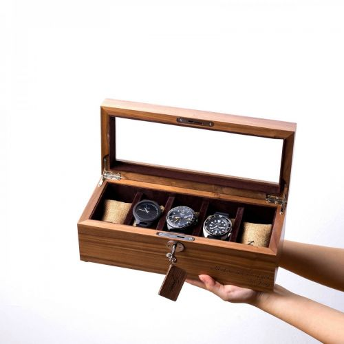 Personalized 5 Slots Walnut Wood Watch Box