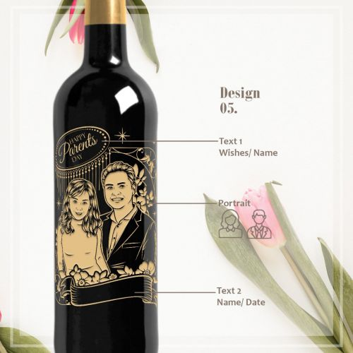 Personalised Red Wine Bottle With Text Engraving - Parent's Day (2)