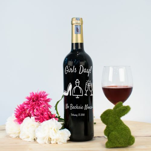 Personalised Red Wine Bottle With Text Engraving - Girls Day!