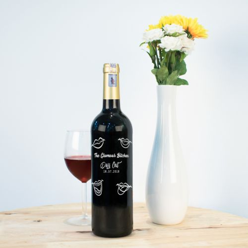 Personalised Red Wine Bottle With Text Engraving - The Glamour Bitches