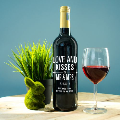 Personalised Red Wine Bottle With Text Engraving - Love & Kisses