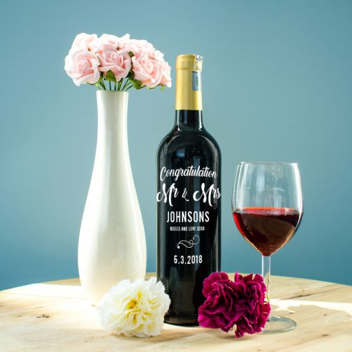 Personalised Red Wine Bottle With Text Engraving - Congratulations Mr & Mrs