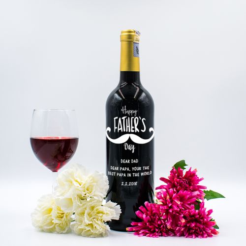 Personalised Red Wine Bottle With Text Engraving - Happy Father's Day