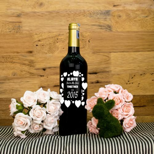 Personalised Red Wine Bottle With Text Engraving - You're My Love