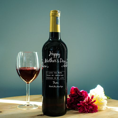Personalised Red Wine Bottle With Text Engraving - My Most Important Person