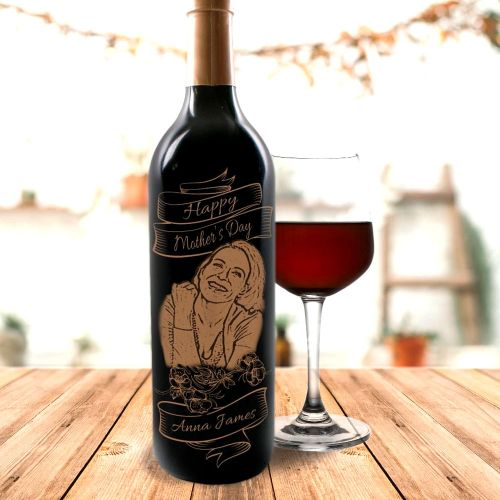 Personalised Red Wine With Portrait Engraving