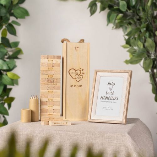 Personalised Wooden Jenga Guest Book Set