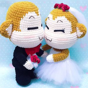Crochet Amigurumi Doll YOYO And CICI Wedding Doll