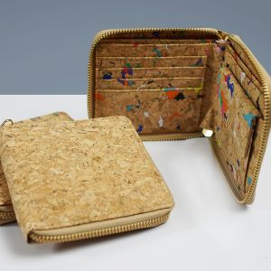 EcoQuote Zip Up Wallet Handmade Eco Friendly Cork Material Great For Vegan, Environment Concious Friend