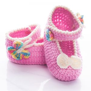 Handmade Crochet Baby Girl Strap Shoes