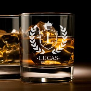 'CROWN EMBLEM' PERSONALIZED ROCK GLASS (SINGLE) 10 OZ- (VINTAGE COLLECTION)