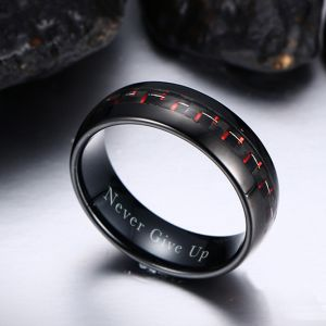 Personalised Red Carbon Weave Fashion Ring