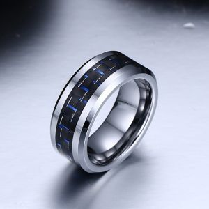 Personalised Blue Carbon Weave Fashion Ring