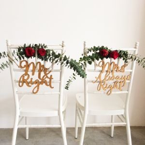Wooden Mr Right & Mrs Always Right - Chair Signage