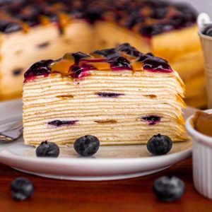 Blueberry Peanut Butter Mille Crepe Cake