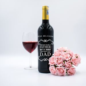 Personalised Red Wine Bottle With Text Engraving - Special For You,Dad!