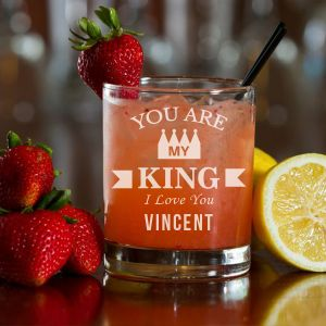 'My King' Personalized Rock Glass (Single) 10 OZ